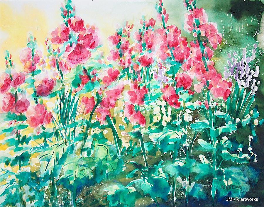 Flowers Painting - The Hollyhock Field by Judith Kerrigan Ribbens