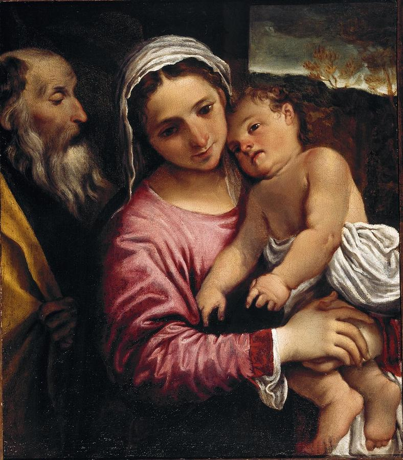 Girl Painting - The Holy Family , Annibale Carracci by Annibale Carracci