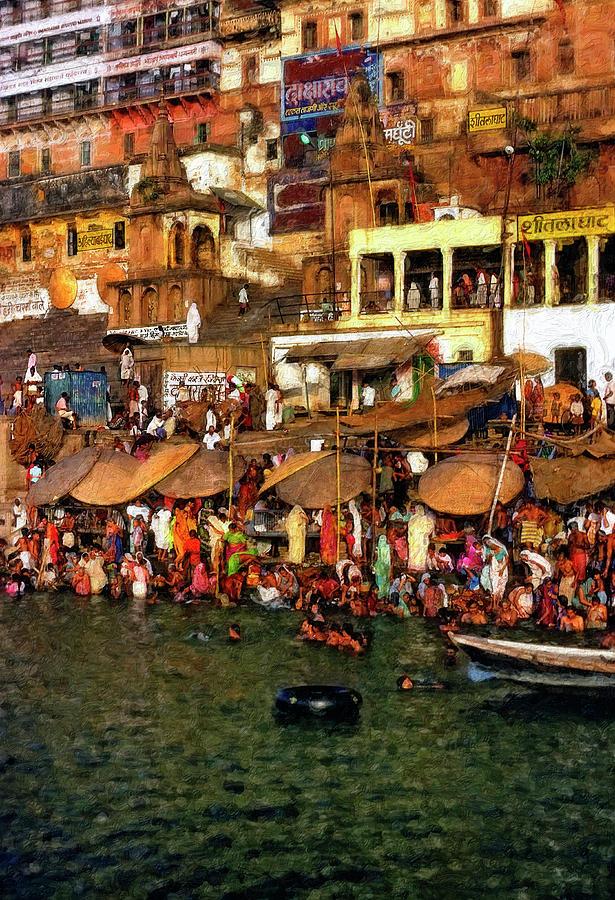 Varanasi Photograph - The Holy Ganges Impasto by Steve Harrington