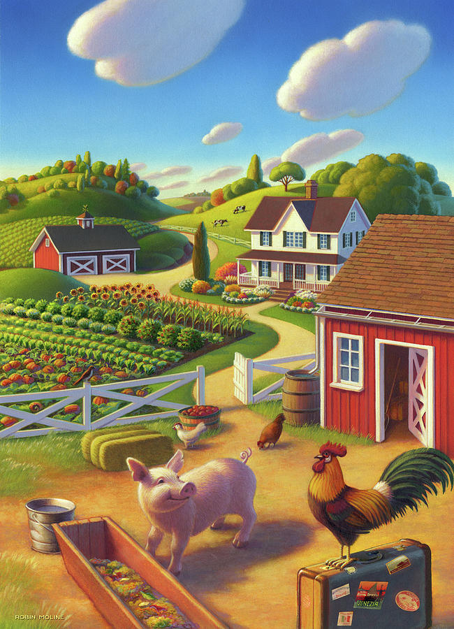 Farm Scene Painting - Welcome Home  by Robin Moline