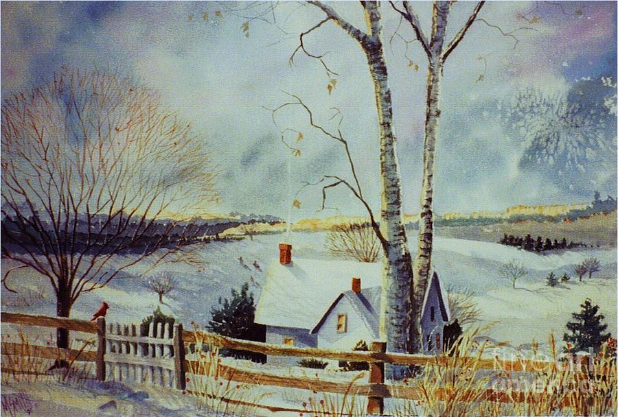 Winter Scene Painting - The Homestead by Marilyn Smith
