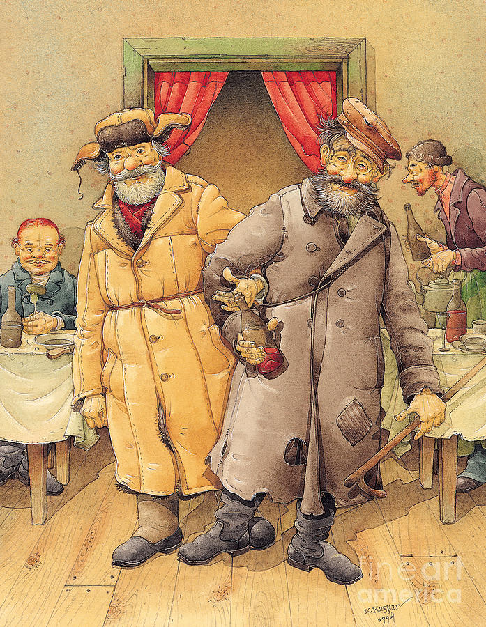 The Honest Thief 01 Illustration For Book By Dostoevsky Painting by Kestutis Kasparavicius