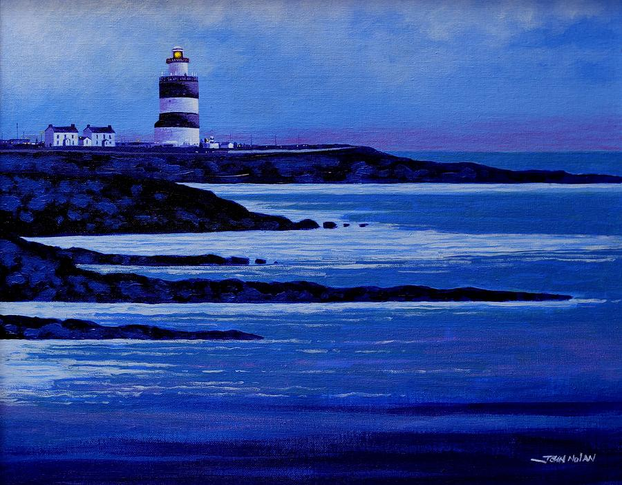 Seascape Painting - The Hook Lighthouse The Hook Peninsula County Wexford Ireland by John  Nolan