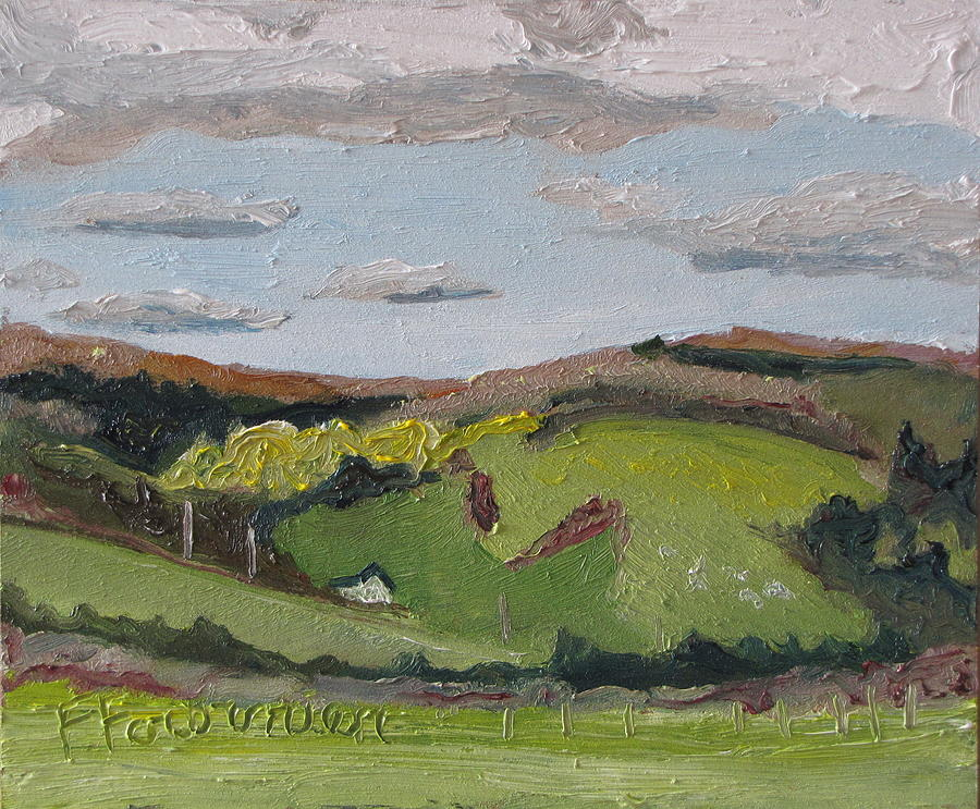 Landscape Painting - The House On The Hill by Francois Fournier