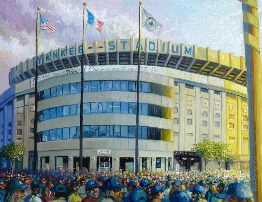 New York Yankees Paintings Painting - The House That Steinbrenner Wrecked Opening Day  by Gregg Hinlicky