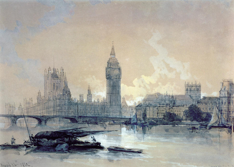 The Painting - The Houses Of Parliament by David Roberts