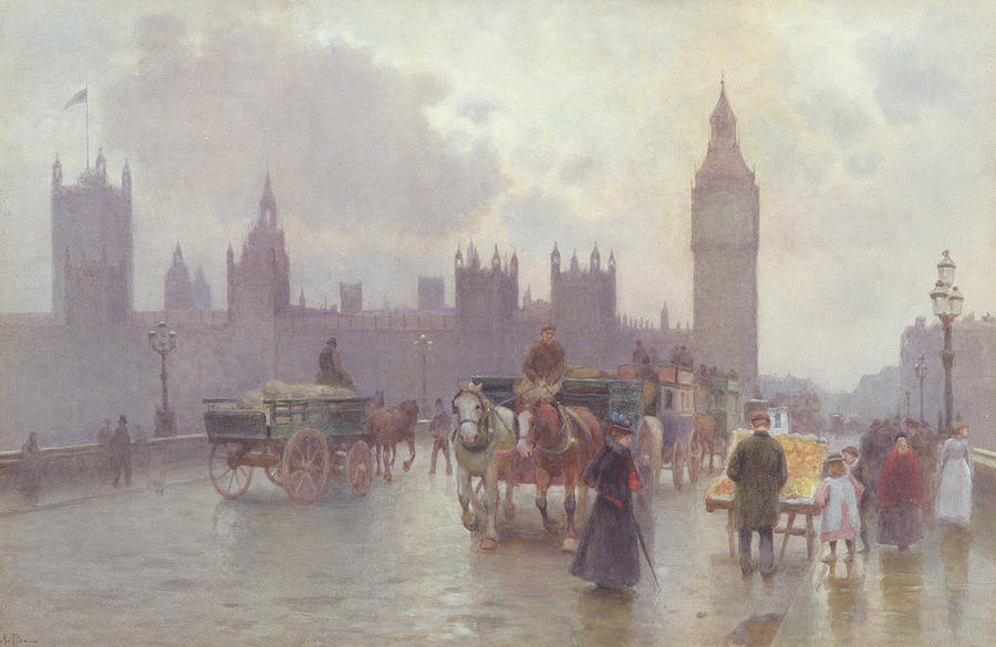 1900 Painting - The Houses Of Parliament From Westminster Bridge by Alberto Pisa