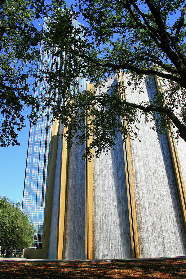 The Houston Water Wall and Williams Tower by Angela Rath