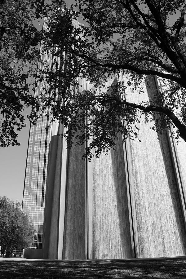 The Houston Water Wall and Williams Tower in Black and White by Angela Rath