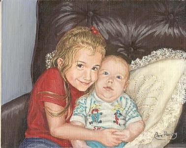 Portraits Painting - The Hug by Clare Harvey