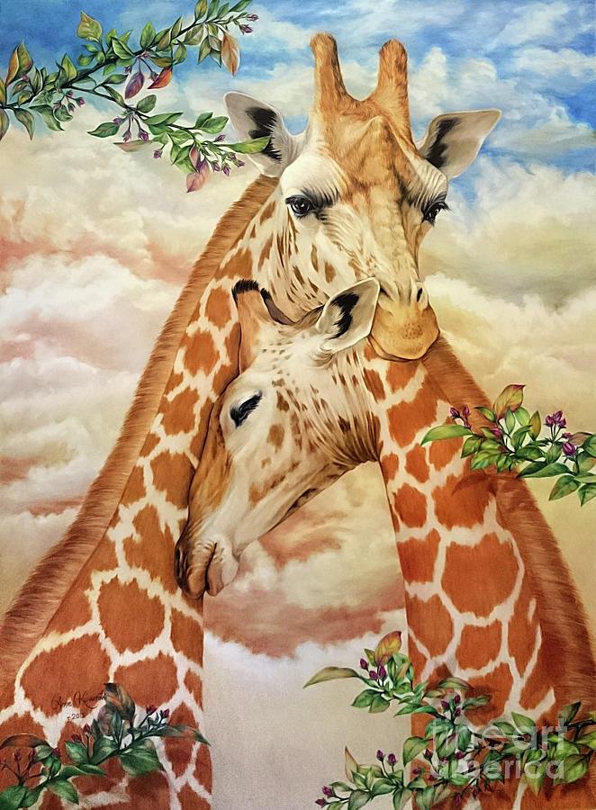 Giraffe Painting - The Hug - Giraffes by Anne Koivumaki - Fine Art Anne