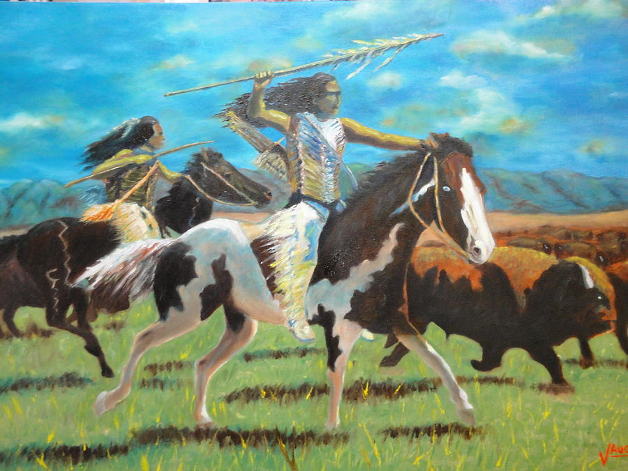 Indians Painting - The Hunt by Charles Vaughn