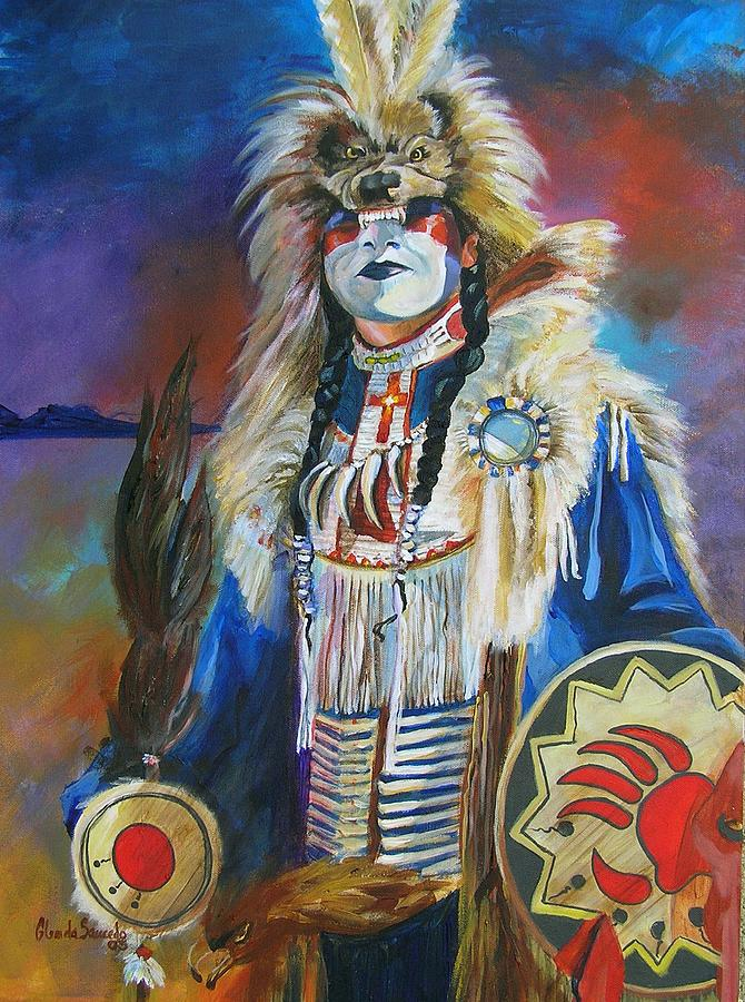 Indian Painting - The Hunt by Glenda Saucedo
