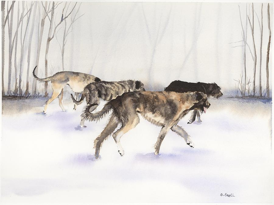 Irish Wolfhound Painting - The Hunt by Stephanie Snell