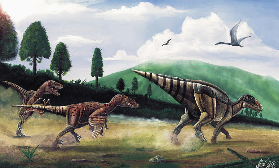 Dinosaurs Painting - The Hunters - Balaur Bondoc And Telmatosaurus Transylvannicus by Mihai Dumbrava