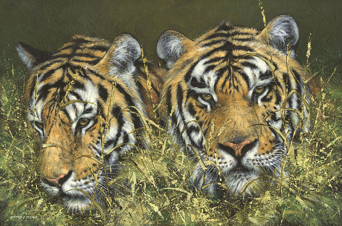 Tigers Painting - The Hunting Party by David Lyons