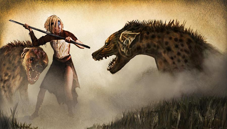 Fantasy Painting - The Hyaenodons - Allies Battle by Mandem