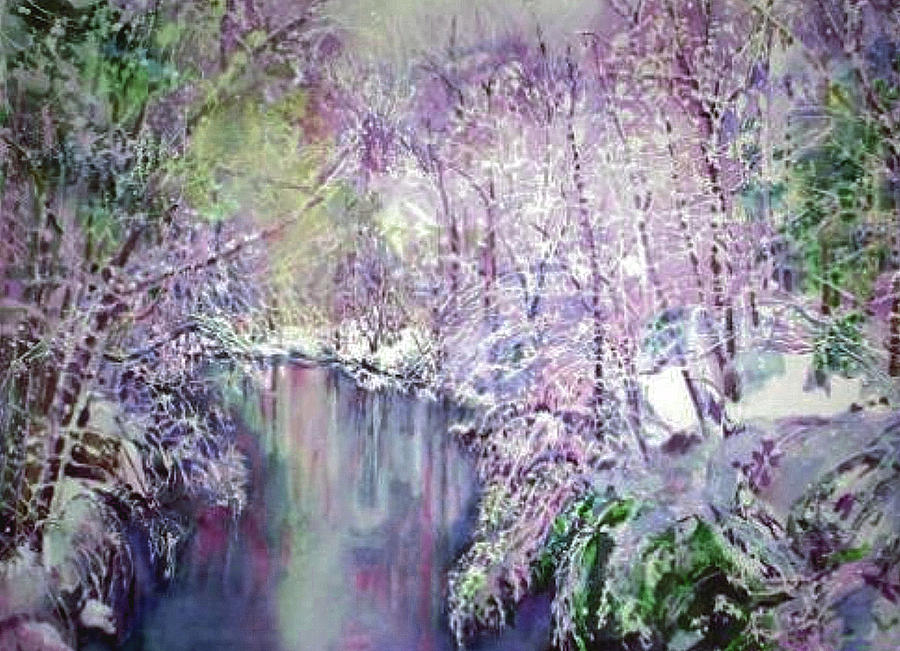 Stream Painting - The Ice Storm  by June Conte  Pryor