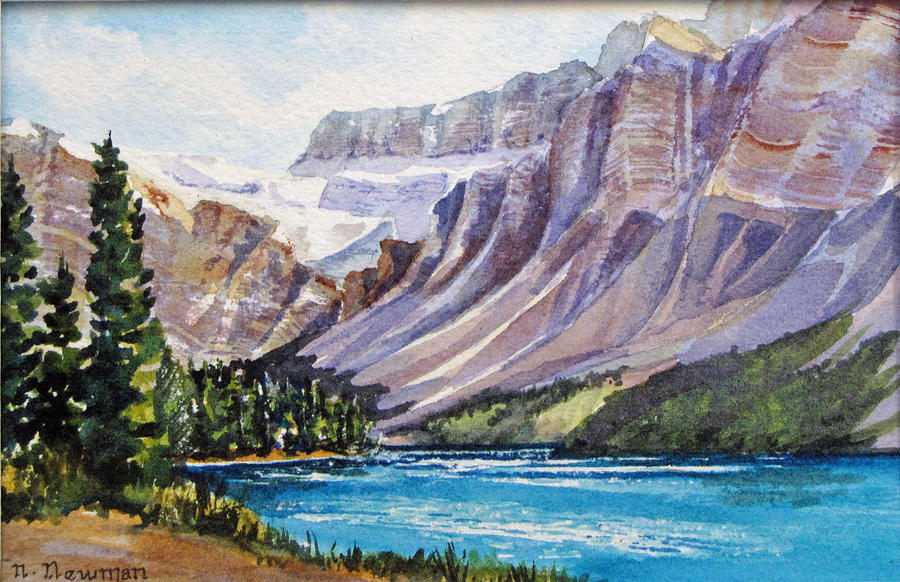 Glacier Painting - Along-the-icefield-parkway by Nancy Newman