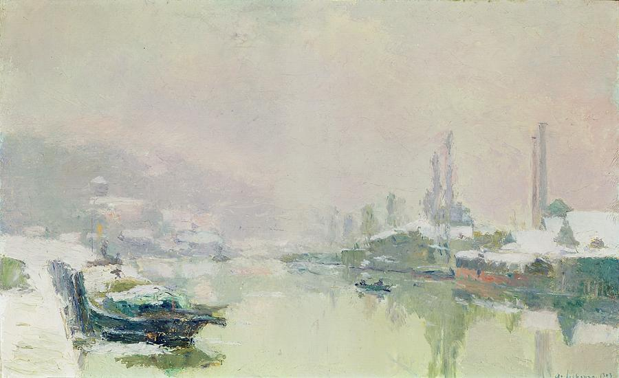 The Painting - The Ile Lacroix Under Snow by Albert Charles Lebourg