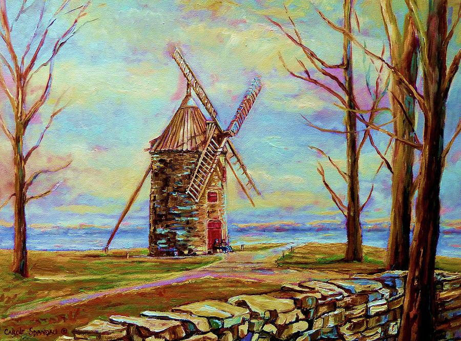 Windmills Painting - The Ile Perrot Windmill Moulin Ile Perrot Quebec by Carole Spandau