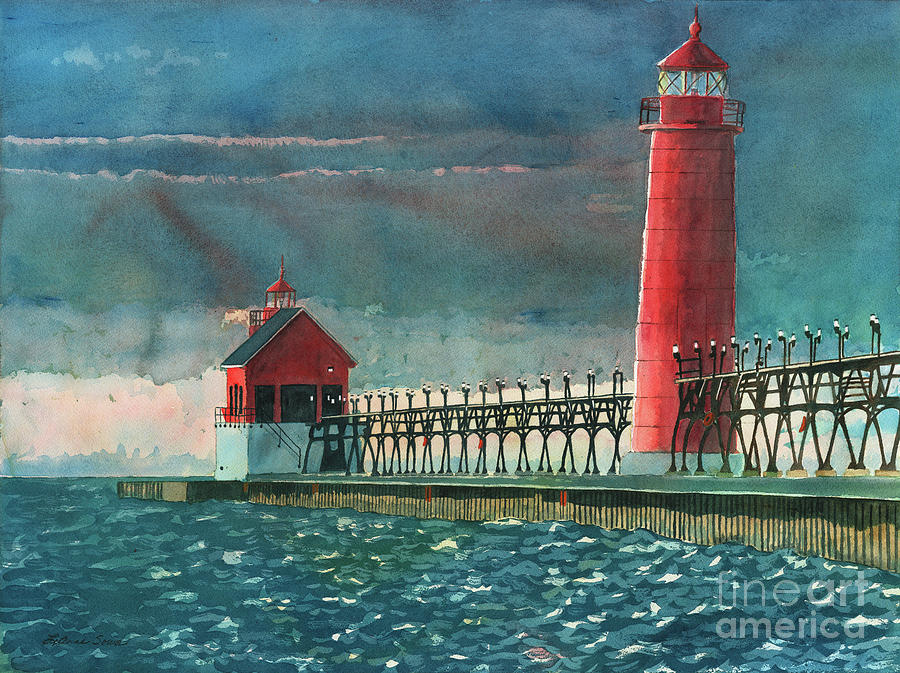 Lighthouses Painting - The Impending Storm by LeAnne Sowa