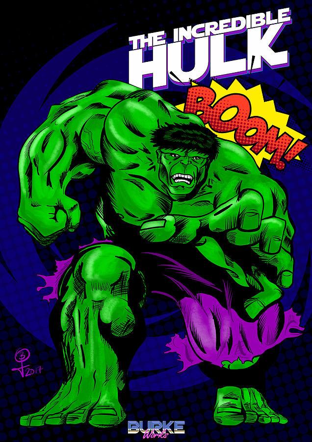 Hulk Digital Art - The Incredible Hulk Retro Style by Joseph Burke