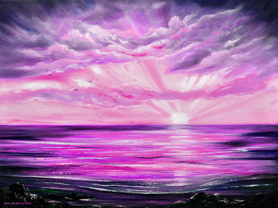 Home Decor Painting - The Incredible Journey - Purple Sunset by Gina De Gorna