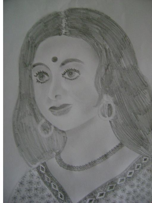 The Indian Lady Drawing by Vijay Abhyankar