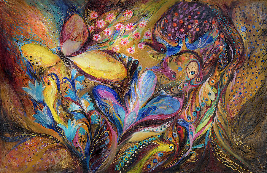 Original Painting - The Iris And The Butterfly by Elena Kotliarker