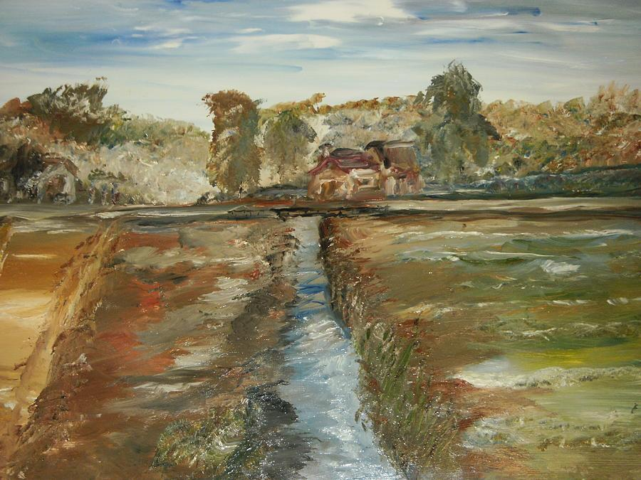 Landscape Painting - The Irrigation Canal by Edward Wolverton