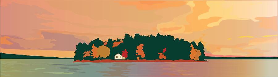 Island Painting - The Island by Marian Federspiel