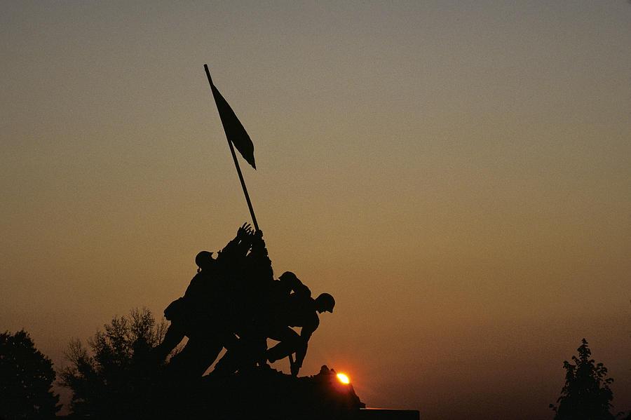 Iwo Jima Memorial Photograph - The Iwo Jima Memorial Silhouetted by Kenneth Garrett