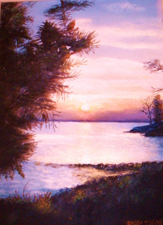 James River Painting - The James River At Twilight by Anne-Elizabeth Whiteway