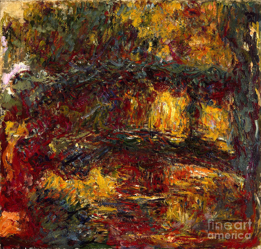 Claude Painting - The Japanese Footbridge - Giverny by Claude Monet