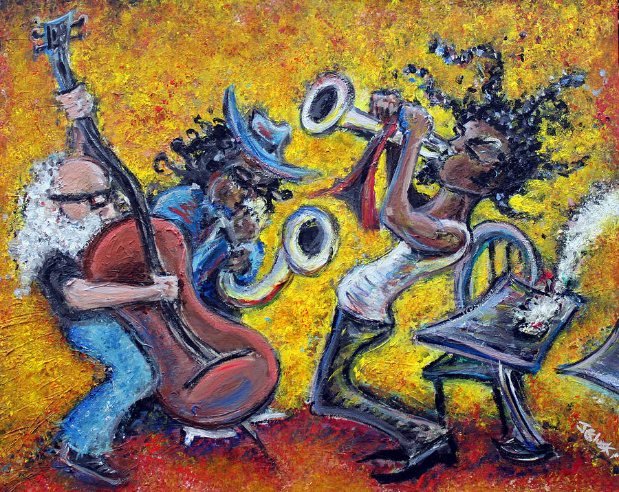 Jazz Music Art Black Musician Painting - The Jazz Trio by Jason Gluskin