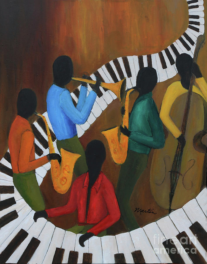 Jazz Painting - The Jazzy Five by Larry Martin