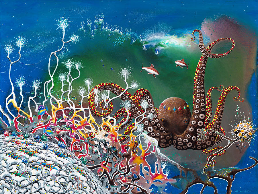 Beach House Painting - The Jeweled Octopus by Lee Pantas