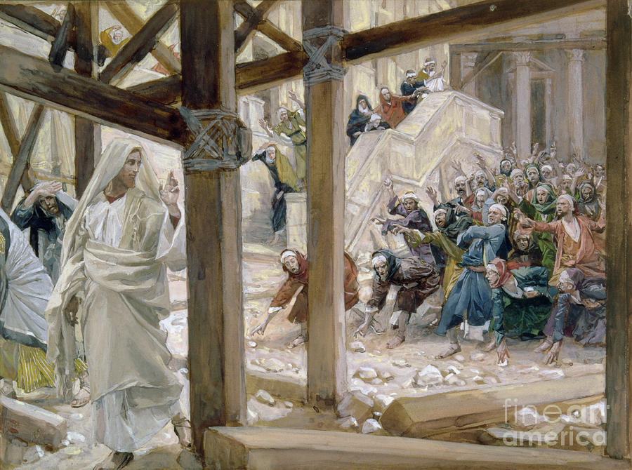 Jesus Painting - The Jews Took Up Stones To Cast At Him by Tissot