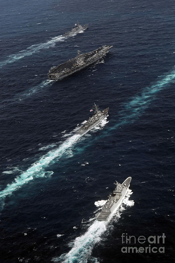 Formation Photograph - The John C. Stennis Carrier Strike by Stocktrek Images