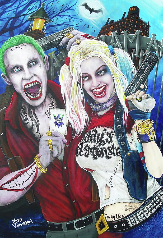 The Joker Painting - The Joker And Harley Quinn by Michael Vanderhoof
