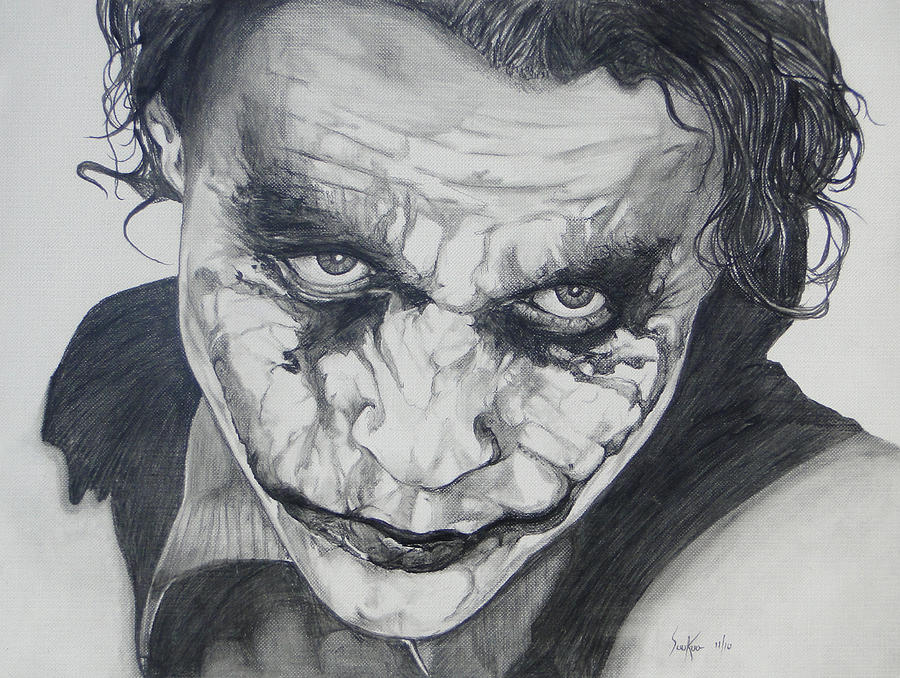The Joker Drawing - The Joker by Stephen Sookoo