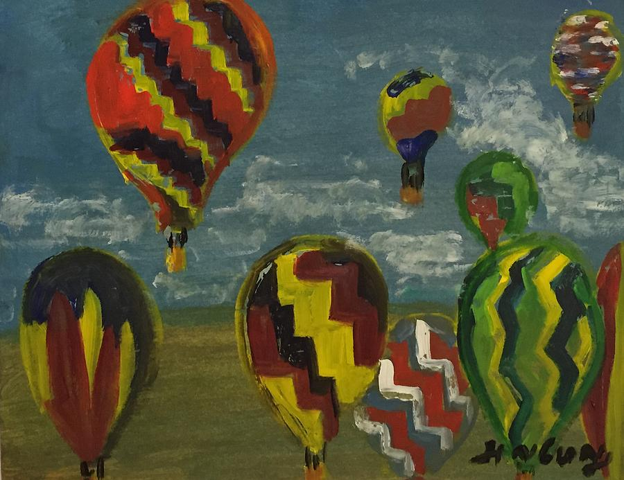 Hot Air Balloon Painting - The journey is as important as the destination by Ramya Sundararajan