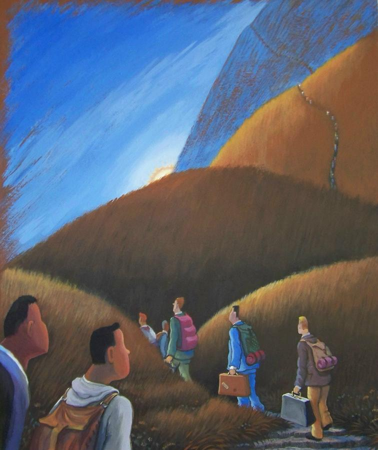 Sureal Painting - The Journey Men by Marjorie Hause
