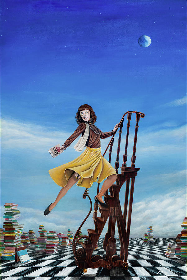 Book Painting - The Journey Of A Librarian by Cindy D Chinn