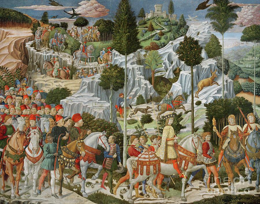 Landscape Painting - The Journey Of The Magi To Bethlehem by Benozzo di Lese di Sandro Gozzoli
