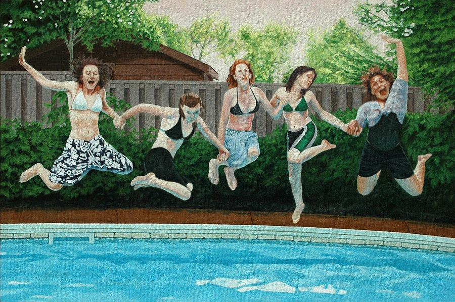 Swimming Pool Painting - The Joy Of Girls by Allan OMarra