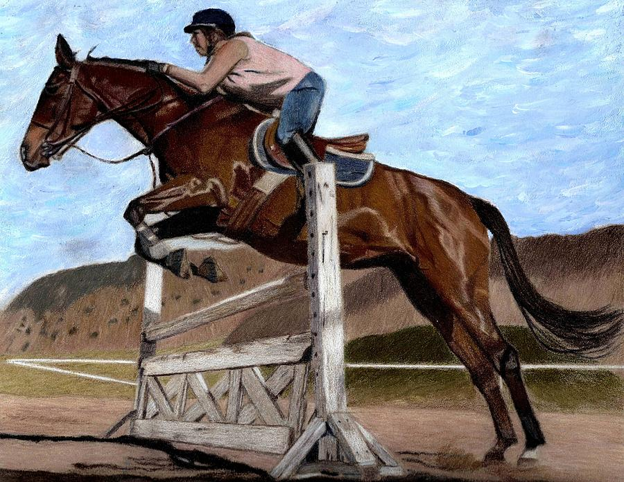 Horses Painting - The Jumper - Horse And Rider Painting by Patricia Barmatz