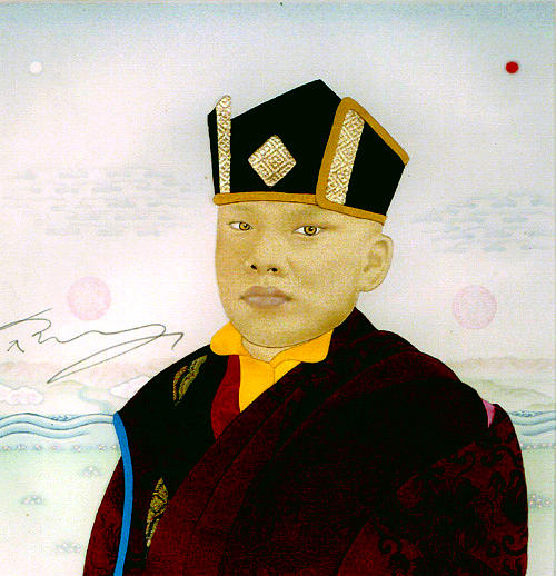 Portrait Painting - The Karmapa  At 10 Years Of Age by Leslie Nguyen Temple