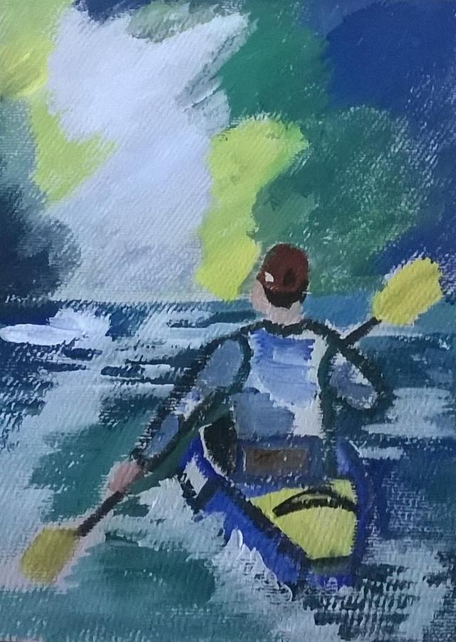 Kayak Painting - The Kayak by Miss Ratul Banerjee